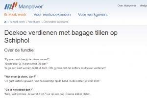 Doekoe verdienen en koffers sjouwen Schiphol Manpower